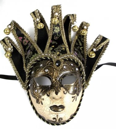 Jester Black Gold Decorate or Wear Mardi Gras Masquerade Mask Wall Hanging