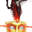 Red Gold Feather Oval Jewel Masquerade Venetian Mardi Gras Ball Mask