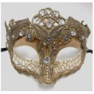 Macrame Crystal Masquerade Mardi Gras Mask White Tan Gold Gray Halloween