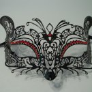 Black RED Rhinestone Laser Cut Venetian Mask Masquerade Metal Filigree Fox Cat