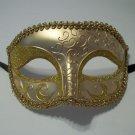 Gold Venetian Half Jester Masquerade Glitter Fancy Dress Costume Mask