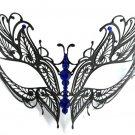Blue Crystal Butterfly Eyes Laser Cut Venetian Mask Masquerade Metal Filigree
