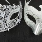 White Crown Laser Venetian Couples Man Woman Masquerade Metal Mask Set