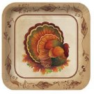 "Thanksgiving Traditional Feast Turkey 7"" Square Dessert Plates Party Supplies"