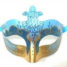 Aqua Blue Gold Scroll Venetian Mask Masquerade Costume Prom Dance Men Woman