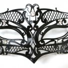 Male Small Black Laser Cut Venetian Masquerade Metal Filigree Mask Men Boys