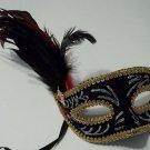Black Velvet Red Ruby Venetian Feather Masquerade Mardi Gras Mask