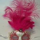 Pink Gold Pearl Venetian long Feather Masquerade Ball Dance Mardi Gras Mask