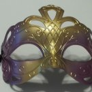 Purple Gold Diamond Cut Venetian Mardi Gras Masquerade Party Mask