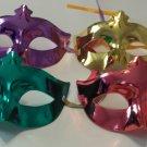 6 colorful Venetian Mardi Gras Masquerade Metallic Party Masks lot 4 colors