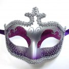Purple Silver Glitter Venetian Masquerade Costume Mask Halloween New Years Party