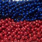 48 Texans Red Blue Mardi Gras Beads Football Party Tailgate NFL Playoffs 4 Dozen