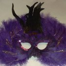 Purple Tinsel Feather Masquerade Costume Ball Prom Mask