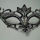 Black Crystal Crown Laser Cut Venetian Mask Masquerade Halloween Metal Filigree