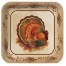 """Thanksgiving Traditional Feast Turkey 10"""" Square Dinner Plates Party Supplies"""