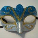 Lt Blue Gold Venetian Glitter Mardi Gras Masquerade Mask Lightweight small