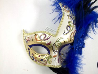 Dark Blue Gold Fancy Lady Mardi Gras Feather Flower Masquerade Mask