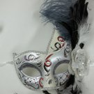 Gray White Fancy Lady Mardi Gras Feather Flower Masquerade Mask