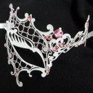 White PINK Crystal Lady Phantom Laser Venetian Masquerade Metal Filigree MASK