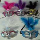 Feather 5 color choices Mardi Gras Masquerade Mask  choose 1 or lot 12