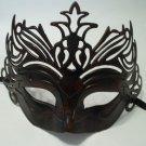 Black Dark Red Venetian Laser Cut Mardi Gras Masquerade Half Mask Crown