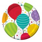 "Bright Shimmering Balloons Birthday Party Supplies Plates Dessert 7"" - Dinner 9"""