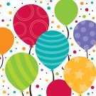 Bright Shimmering Balloons Birthday Party Supplies Beverage or Lunch Napkins