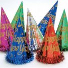 "6 Assorted Color 9"" Foil Hats with Tinsel  Metallic Party Supplies New Years Eve"
