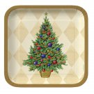 """Christmas Spruced Up Gold Tree 10"""" Square Dinner Plates Plate 8ct Party Supplies"""