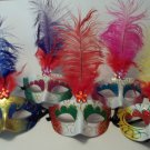 Choice 5 colors Masquerade Mardi Gras Dance Feather Flower Gem Mask 1 or Lot 12