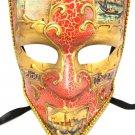 Red Gold Bauta Aged Venetian Mardi Gras Men's Masquerade Square Mardi Gras Mask