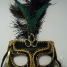 Jeweled Black Gold Venetian Feather Masquerade Mask