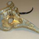 Off White Antique Long Nose Bird Mardi Gras Masquerade Venetian Mask Zanni