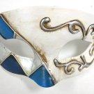 White Blue Paper Mache Pewter Diamond Masquerade Mardi Gras Mask Mens Men