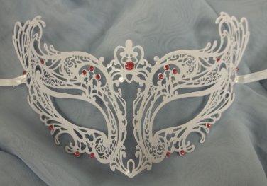 Royal PINK White Laser Cut Venetian Masquerade Metal Filigree Mask Rhinestones