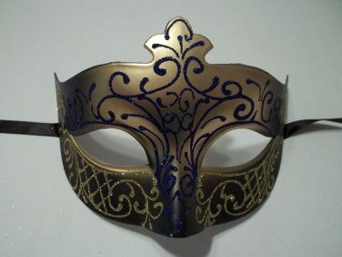 Navy Gold Scroll Mardi Gras Masquerade Ball Prom Mask