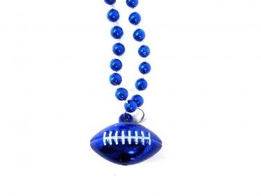 Blue Football Shape Mardi Gras Bead Beads Necklace Party Favor