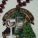 Red Wine Glass Bottle Grapes In Vino Veritas Mardi Gras Beads Party Necklace
