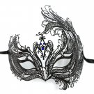 Black Bird of Paradise Blue Crystal Venetian Masquerade Metal Filigree Mask