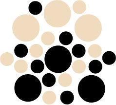 Set of 26 - BLACK / BEIGE CIRCLES Vinyl Wall Graphic Decals Stickers shapes polka dots round