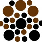 Set of 26 - BLACK / BROWN CIRCLES Vinyl Wall Graphic Decals Stickers shapes polka dots round