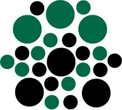 Set of 26 - BLACK / DARK GREEN CIRCLES Vinyl Wall Graphic Decals Stickers shapes polka dots round