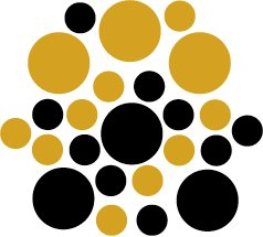 Set of 26 - BLACK / GOLD METALLIC CIRCLES Vinyl Wall Graphic Decals Stickers shapes polka dots round
