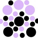 Set of 26 - BLACK / LILAC CIRCLES Vinyl Wall Graphic Decals Stickers shapes polka dots round