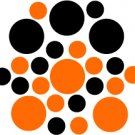 Set of 26 - BLACK / ORANGE CIRCLES Vinyl Wall Graphic Decals Stickers shapes polka dots round