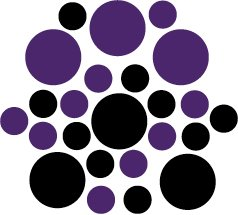 Set of 26 - BLACK / PURPLE CIRCLES Vinyl Wall Graphic Decals Stickers shapes polka dots round