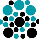 Set of 26 - BLACK / TURQUOISE CIRCLES Vinyl Wall Graphic Decals Stickers shapes polka dots round