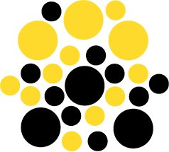 Set of 26 - BLACK / YELLOW CIRCLES Vinyl Wall Graphic Decals Stickers shapes polka dots round