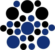 Set of 26 - BLUE / BLACK CIRCLES Vinyl Wall Graphic Decals Stickers shapes polka dots round