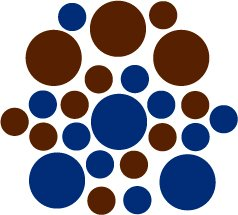 Set of 26 - BLUE / BROWN CIRCLES Vinyl Wall Graphic Decals Stickers shapes polka dots round